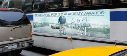 Key art poster adapted to OOH bus side for Academy Award nominated foreign film A Man Called Ove