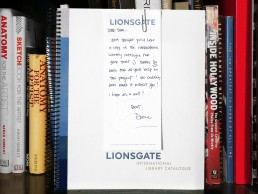 Thank you note and Lionsgate International Library Catalogue