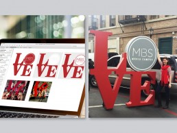 Experiential concept and event graphics, inspired by Robert Indiana's LOVE sculpture, for MBS Media Campus