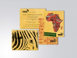 Invitation design for PUMA African Bazaar. Printed on balsa wood