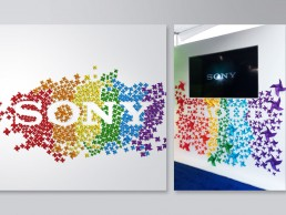 Event decor. Pinwheels in rainbow colorful reveal the Sony logo in their booth at the West Hollywood Gay Pride Parade.