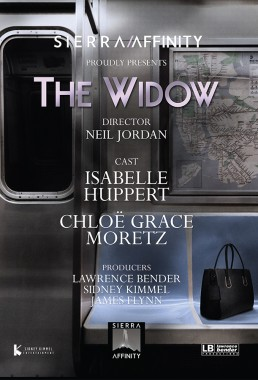 Trade ad for Producer Lawrence Bender and Sidney Kimmel's The Widow starring Isabelle Huppert and Chloe Grace Moretz and directed by Crying Game's Neil Jordan