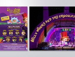 Hollywood Bowl graphics for Willy Wonka & the Chocolate Factory live-to-film presentation