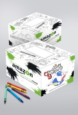 3-color illustrated shipping box to keep and color