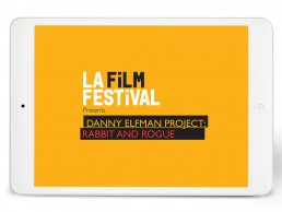 Pitch deck cover for LA FILM FESTIVAL highlighting film composer Danny Elfman's Rabbit and Rogue