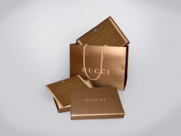 Invitation design for GM presented in gold GUCCI box and gold GUCCI bag