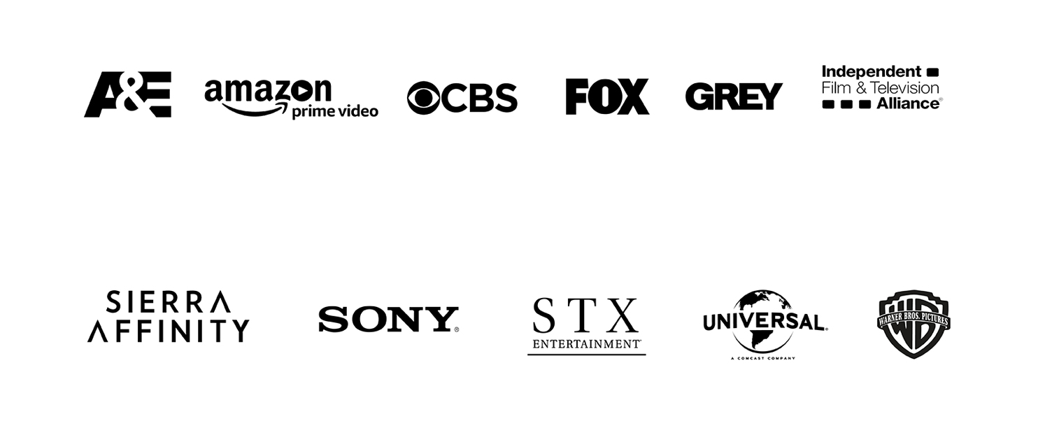 clients and creative partners include a&e, amazon prime, cbs, fox, grey, sierra affinity, sony, stx, universal and wb