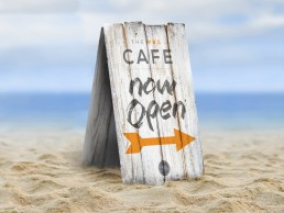 Wood open sign for MBS Cafe