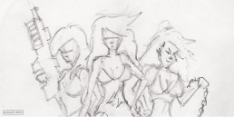 Producers inspiration Sketch for photoshoot of 3 women with guns and chains as key art inspiration for movie