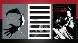 Key art exploration for the film A KIND OF MURDER and final poster in center