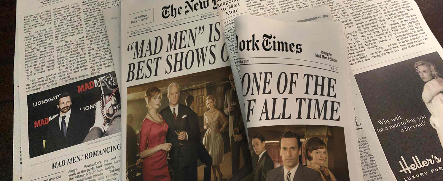 Mad Men promotional newspaper
